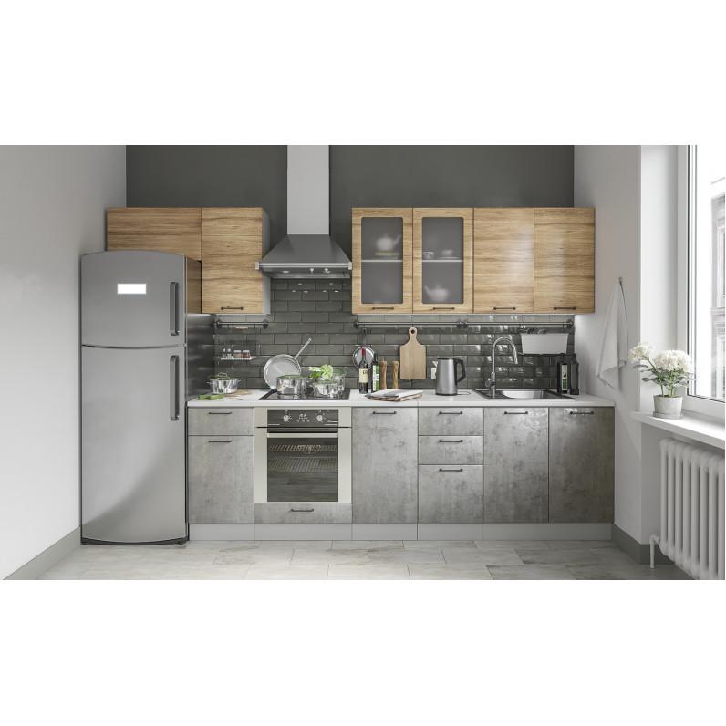 Кухня Лофт дуб цикорий бетон светлый
